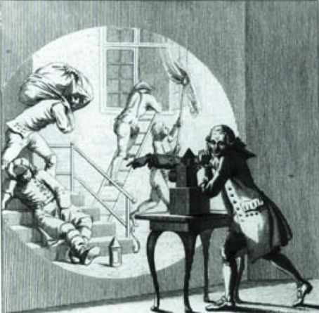 """A group of people in a darkened room, watching images on a wall - thrown by a beam of light cutting through the darkness, must have resembled a group watching home movies."" (Erik Barnouw, 1956; Bild: Laterna Magica, 1787)"