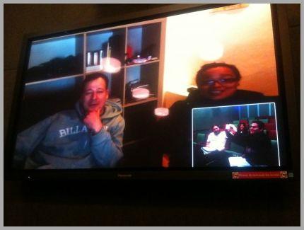 Die deutschen Regisseure Johannes F. Sievert und Nancy Mac Granaky-Quaye beim Videochat mit den amerikanischen Regisseuren Lucas Mireles und Iliana Sosa sowie dem Produzenten Ryan Slattery (Foto: Ryan Slattery)